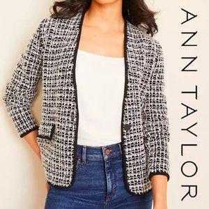 Ann Taylor Tweed Sweater Jacket XL Black NWT